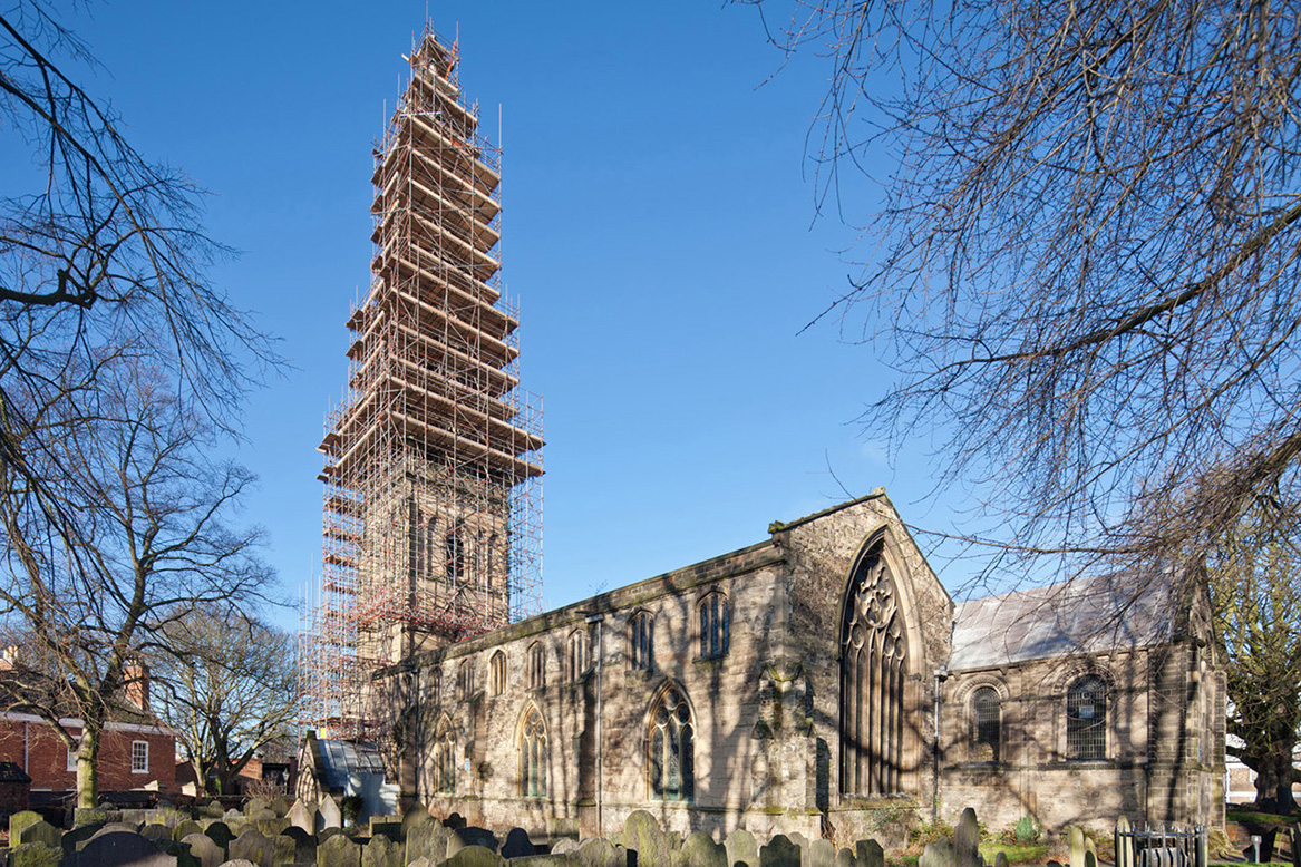 Scaffolding at St Mary de Castro spire