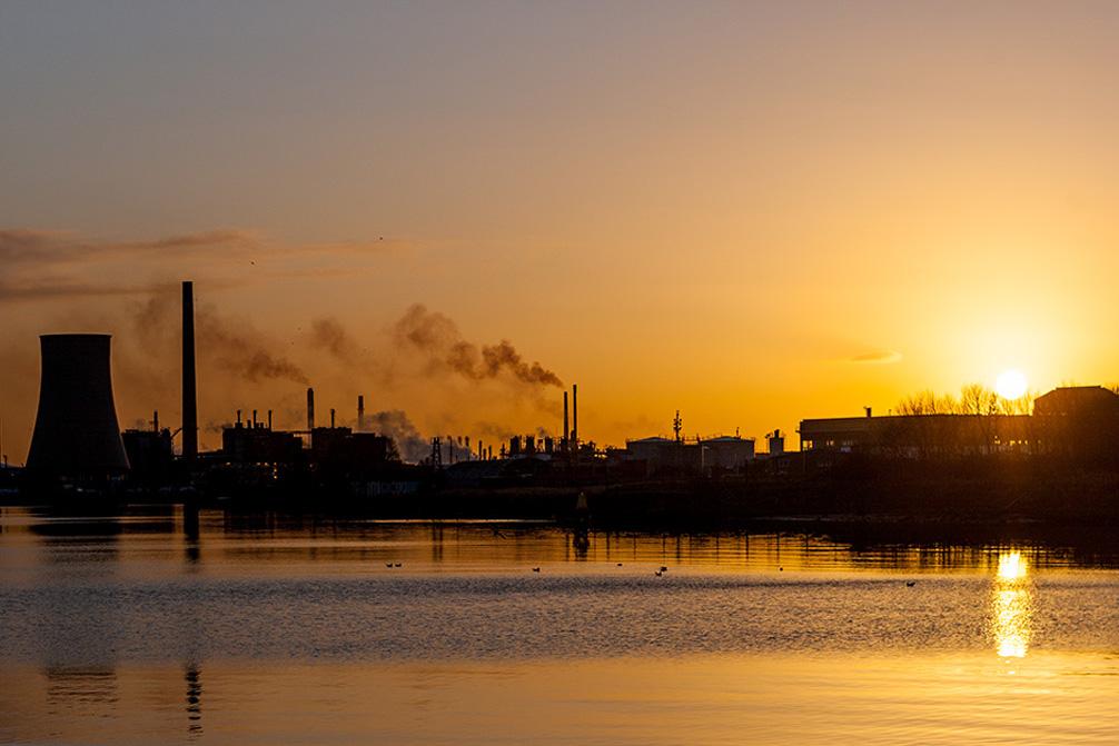 Sunrise over Ellesmere Port refinery