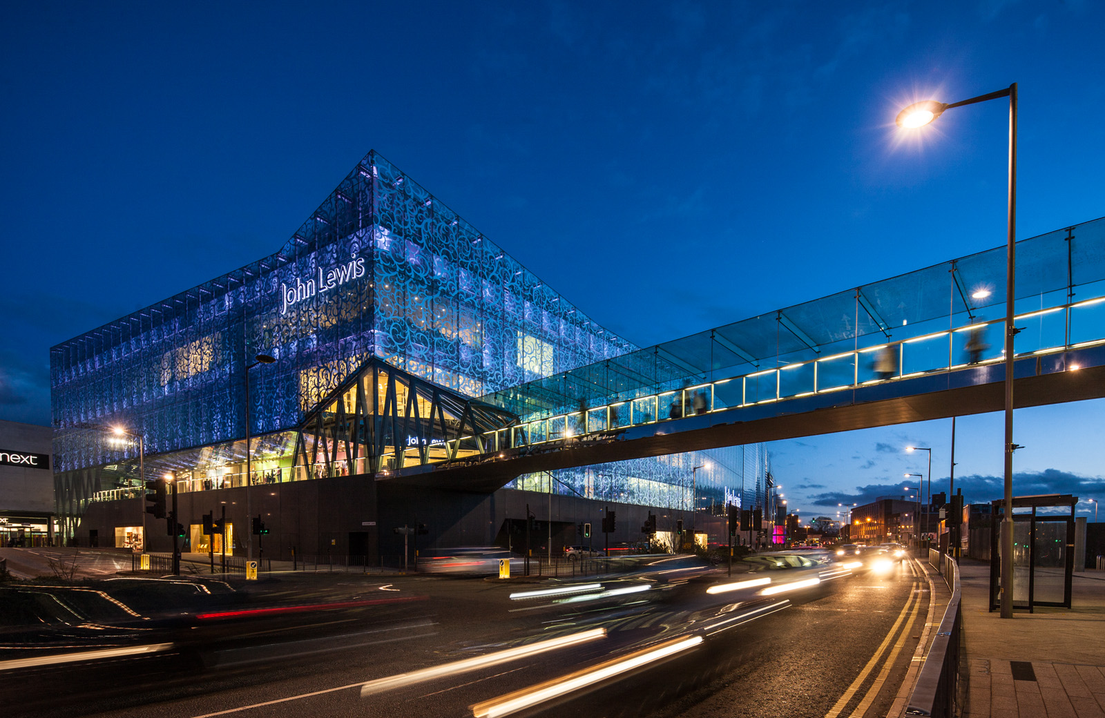 John Lewis store, from the ring road at dusk, Leicester