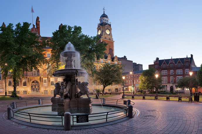 Town Hall square at dusk, Leicester