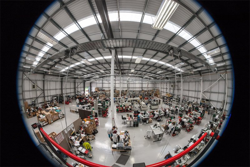 Fish-eye view of interior of factory