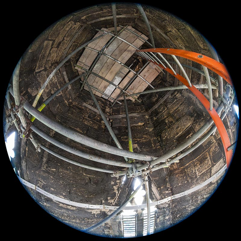 Working inside the tip of a church spire