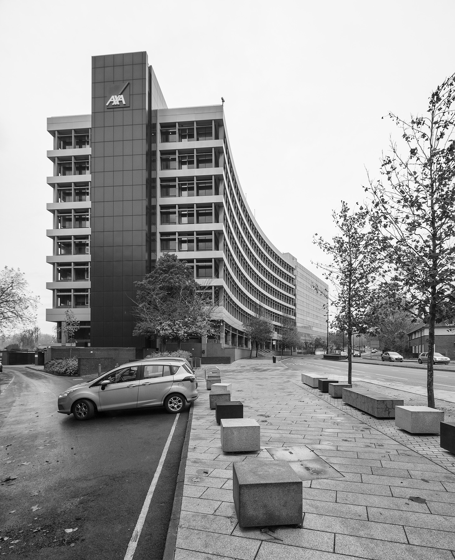 Axa building, looking along civic drive, Ipswich, Suffolk