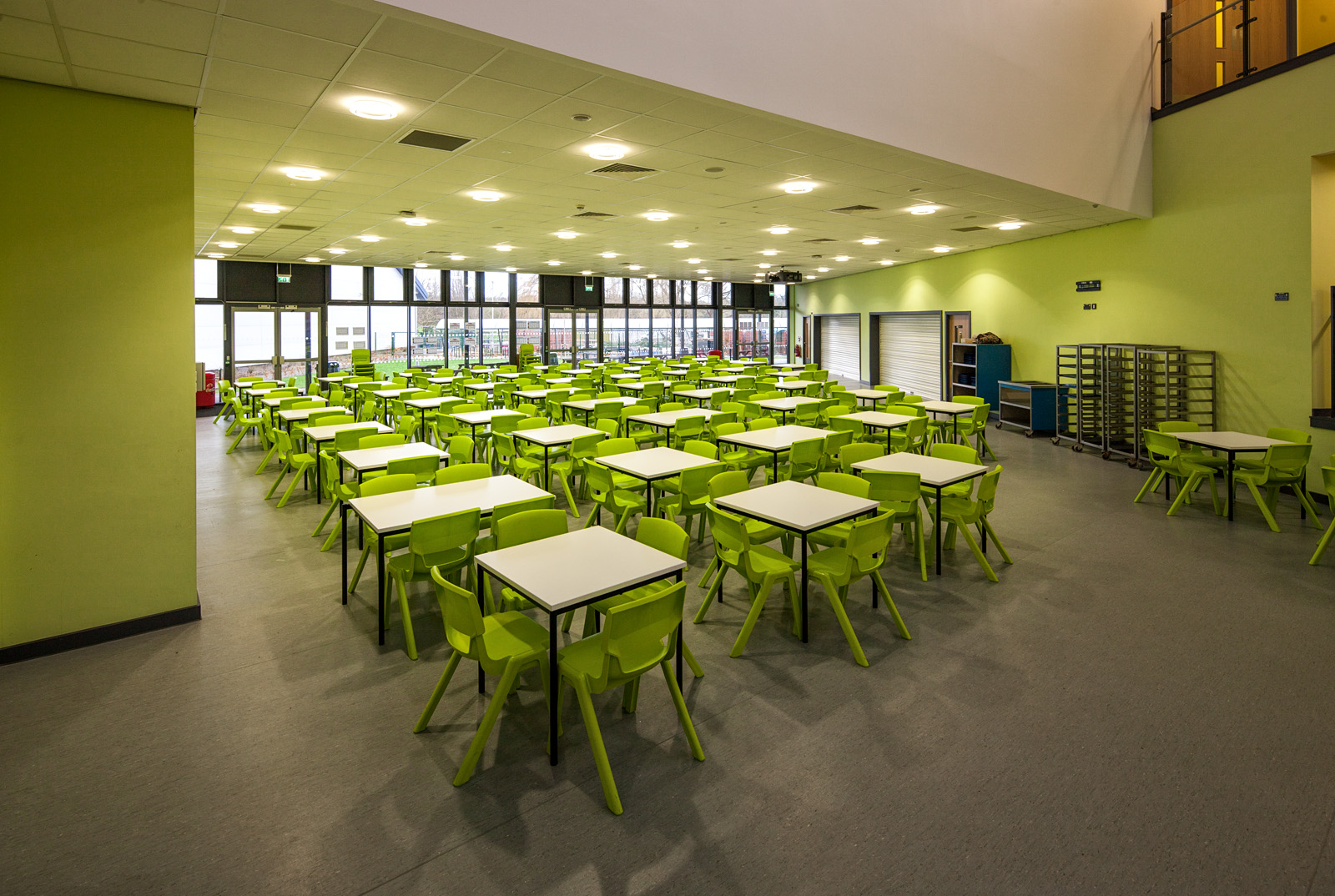 Tables at a school dining area