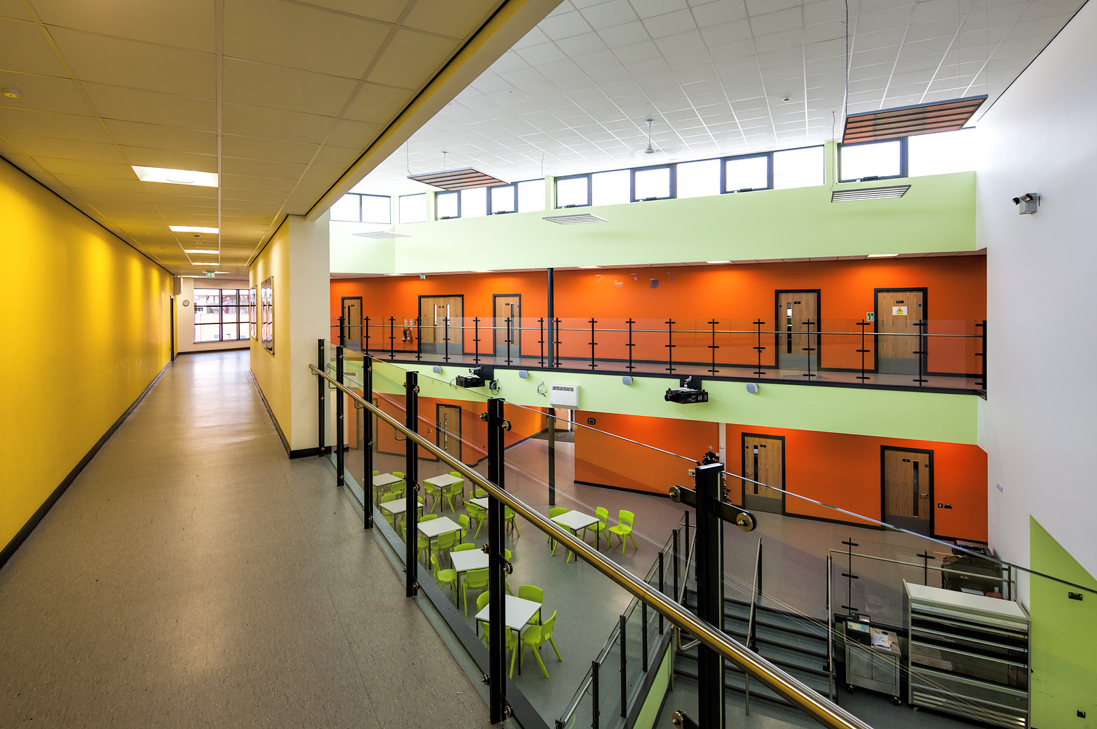 The open hallway area at a newly built school in Leicester