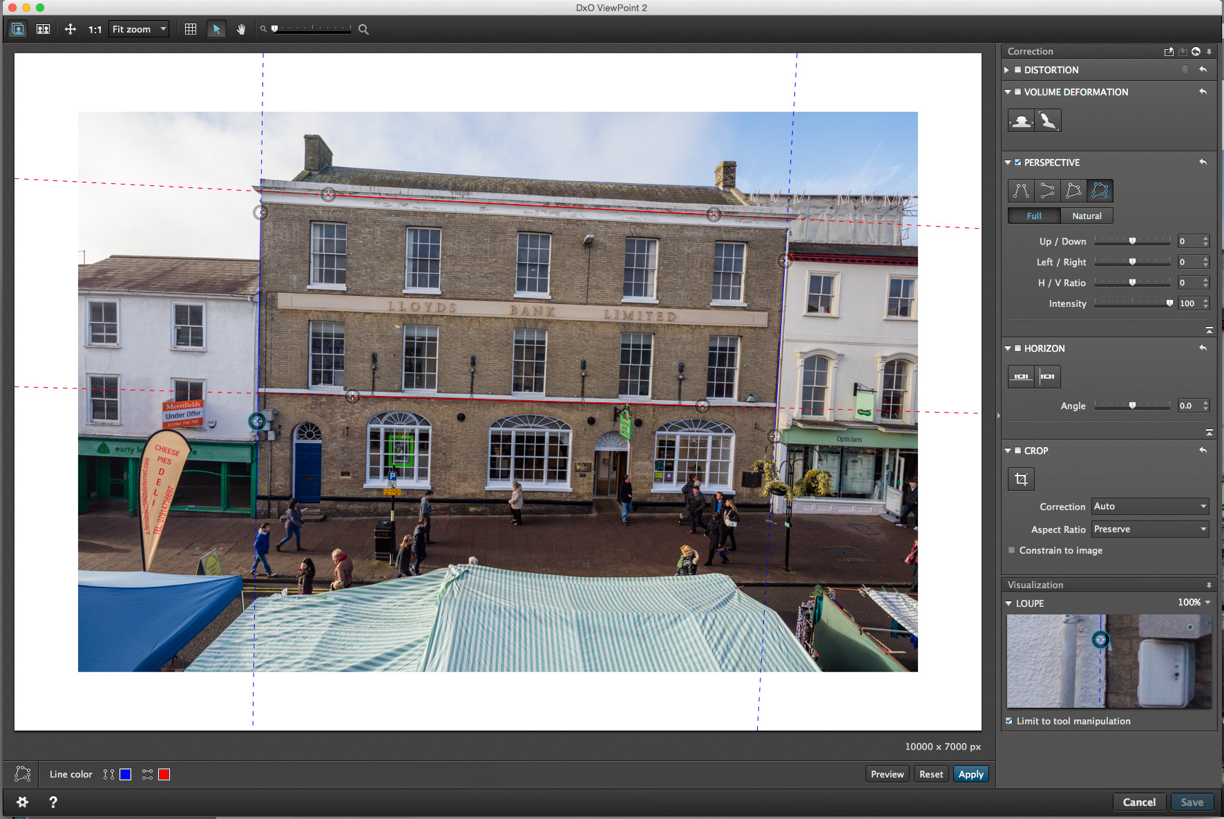 correcting image from elevated tripod