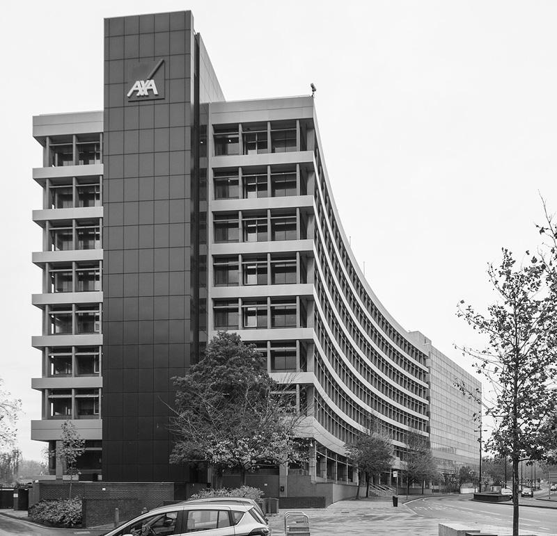 Axa building, looking along civic drive, Ipswich